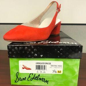 Sam Edelman Lorene Slingback Pump 7.5 Blood Orange